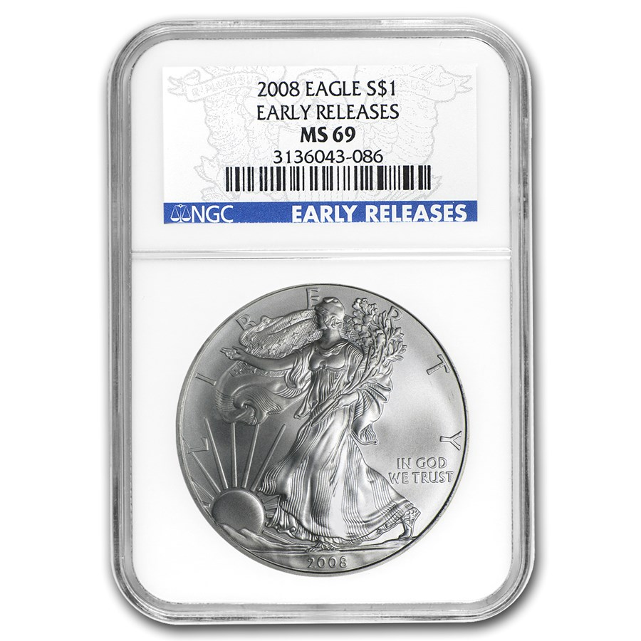 2008 American Silver Eagle MS-69 NGC (ER, Blue Label)