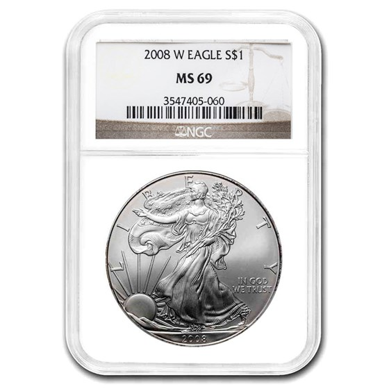 2008 American Silver Eagle MS-69 NGC