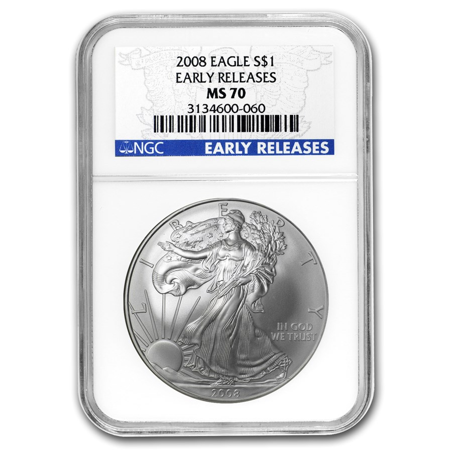 2008 American Silver Eagle MS-70 NGC (Early Releases)