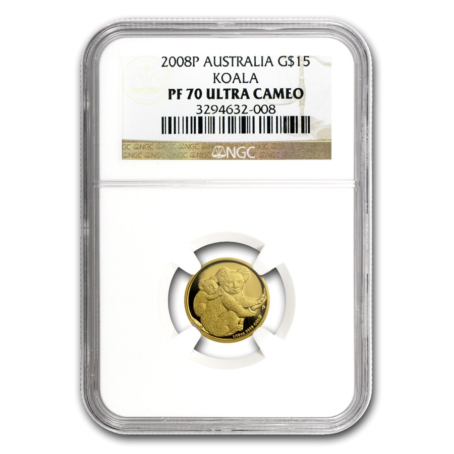 2008 Australia 1/10 oz Gold Koala PF-70 NGC