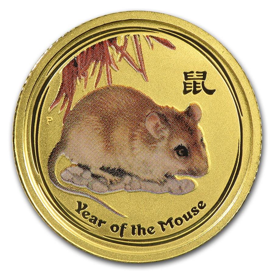 2008 Australia 1/10 oz Gold Lunar Mouse BU (SII, Colorized)