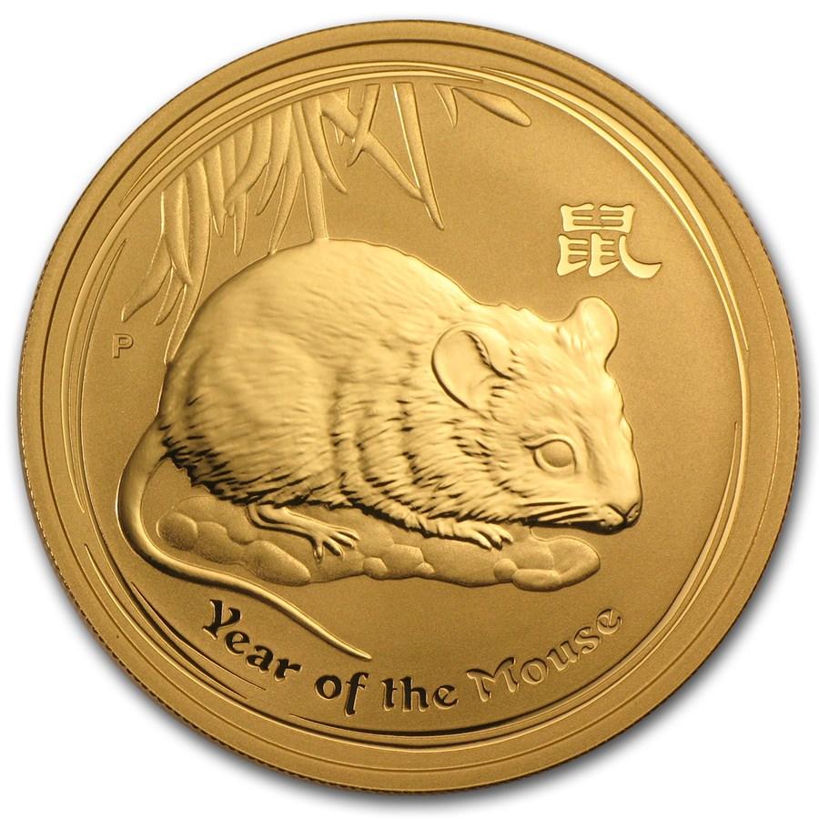2008 Australia 1 oz Gold Lunar Mouse BU (Series II)