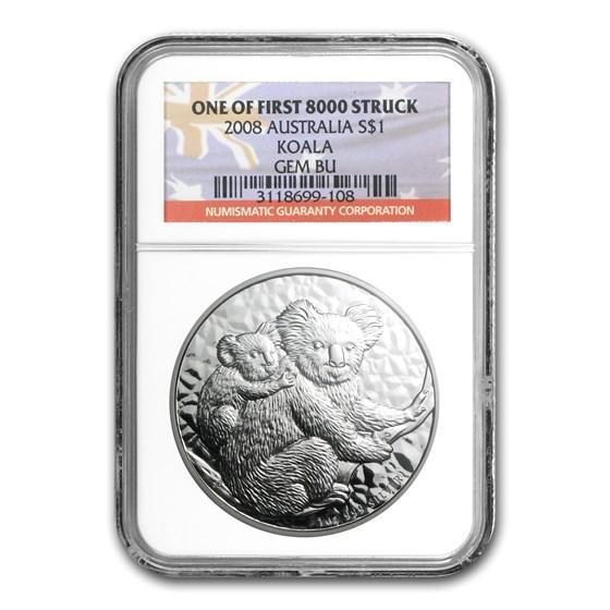 2008 Australia 1 oz Silver Koala Gem BU NGC (1st of 8,000)