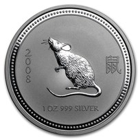 2008 Australia 1 oz Silver Year of the Mouse BU (Series I)