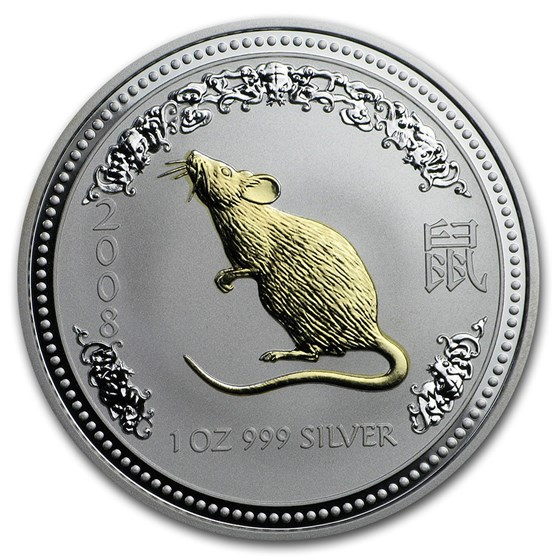 2008 Australia 1 oz Silver Year of the Mouse BU (SI, Gilded)