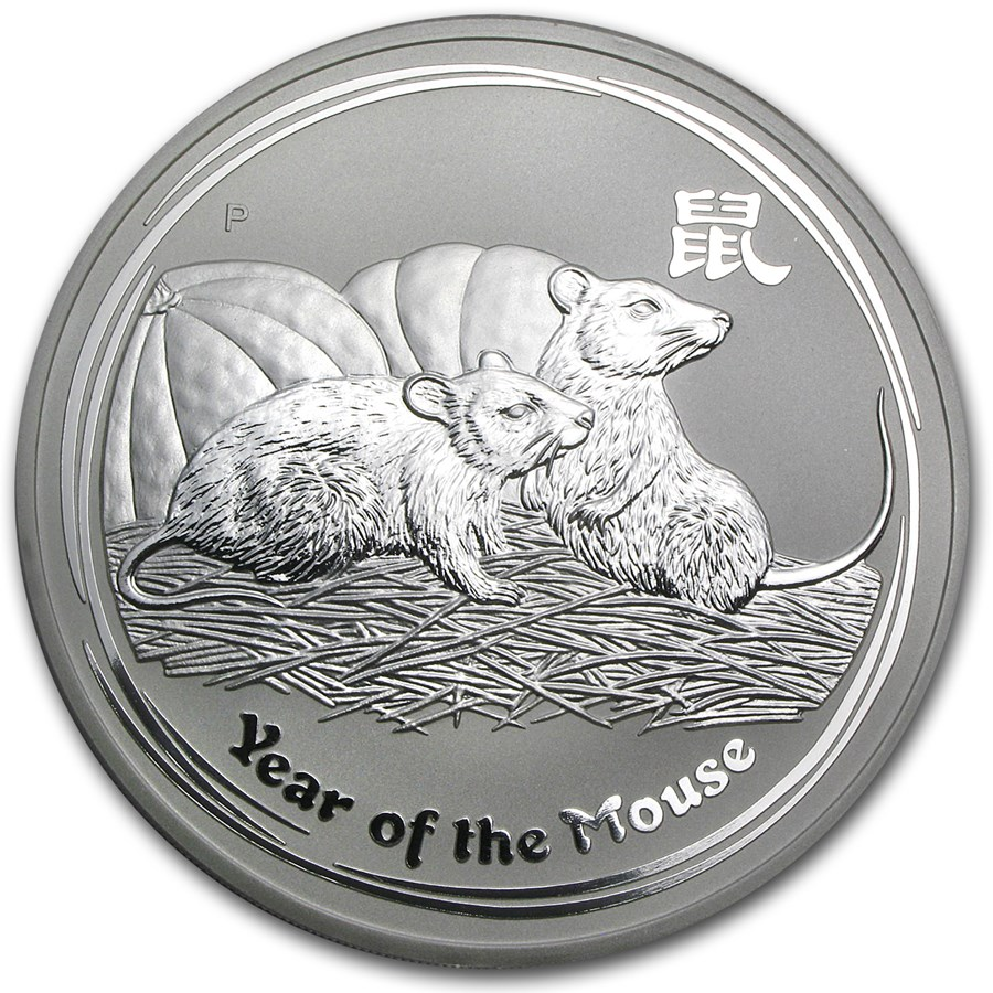 2008 Australia 10 oz Silver Year of the Mouse BU (Series II)