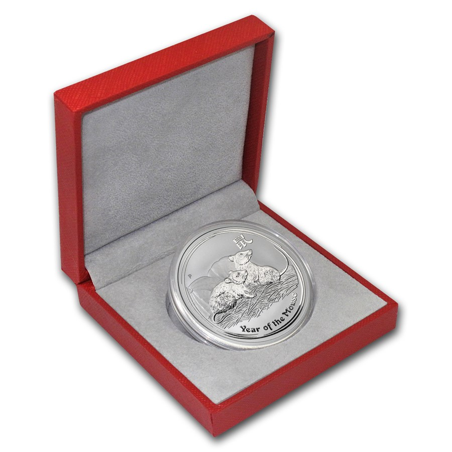 2008 Australia 2 oz Silver Mouse BU (Series II, w/Red box)
