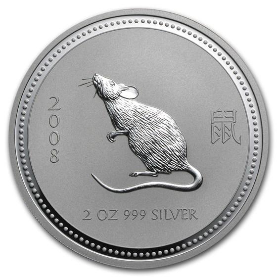 2008 Australia 2 oz Silver Year of the Mouse BU (Series I)