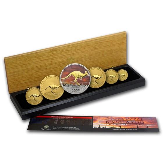 2008 Australia 6-Coin Gold & Silver Kangaroo Prestige Set BU