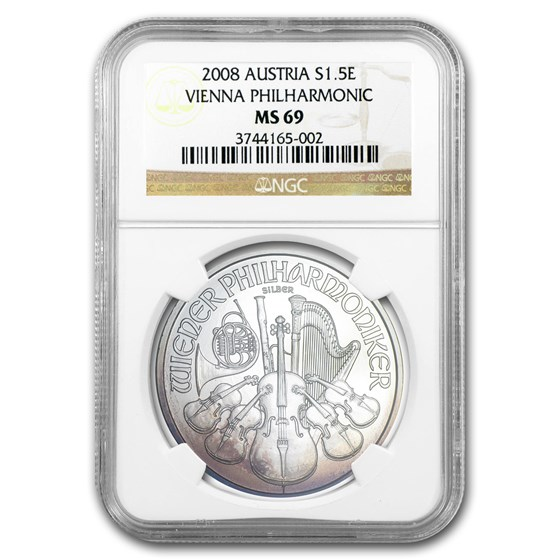 2008 Austria 1 oz Silver Vienna Philharmonic MS-69 NGC (Toned)