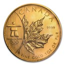 2008 Canada 1 oz Gold Maple Leaf BU (Vancouver Olympics)