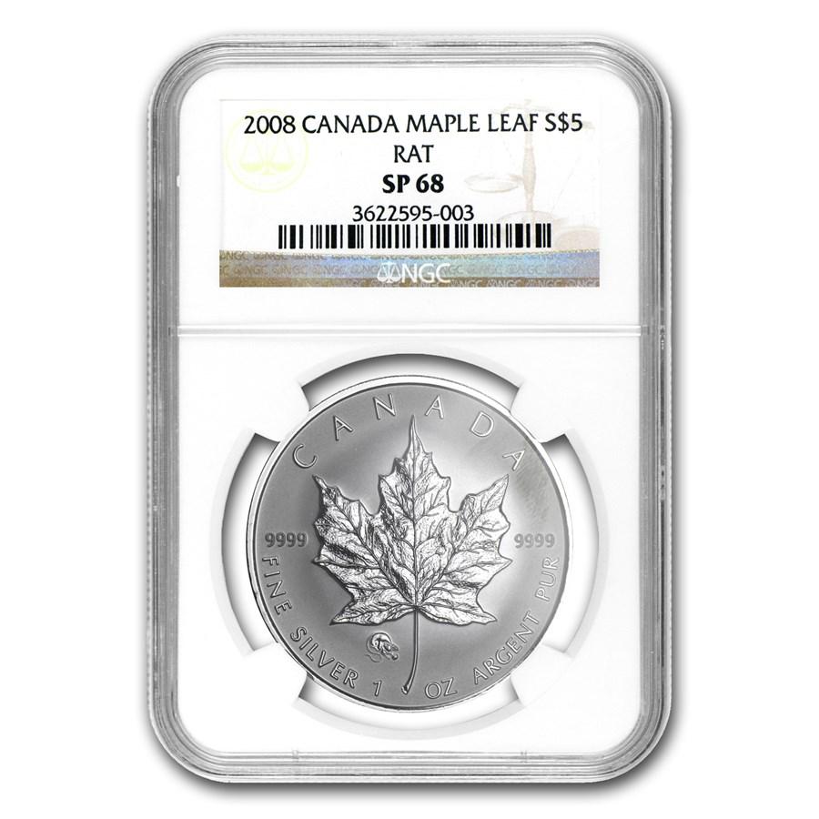 2008 Canada 1 oz Silver Maple Leaf Lunar RAT Privy SP-68 NGC