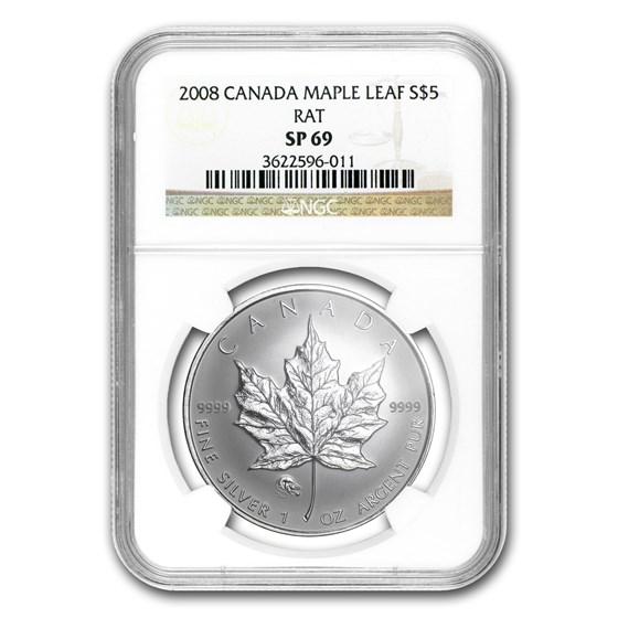 2008 Canada 1 oz Silver Maple Leaf Lunar RAT Privy SP-69 NGC