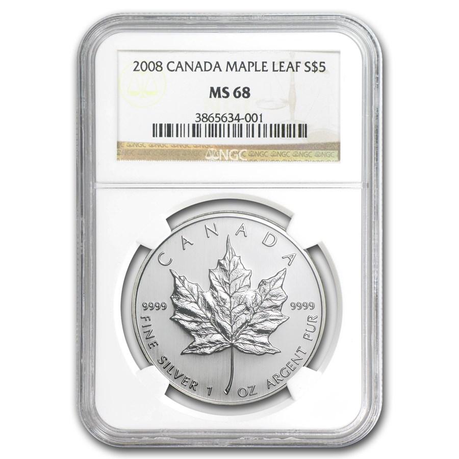 2008 Canada 1 oz Silver Maple Leaf MS-68 NGC
