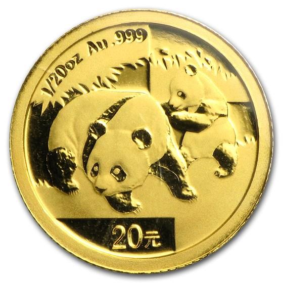 2008 China 1/20 oz Gold Panda BU (Sealed)