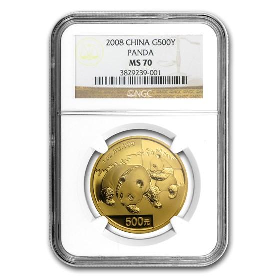 2008 China 1 oz Gold Panda MS-70 NGC