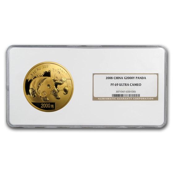 2008 China 5 oz Proof Gold Panda 2000 Yuan PF-69 NGC