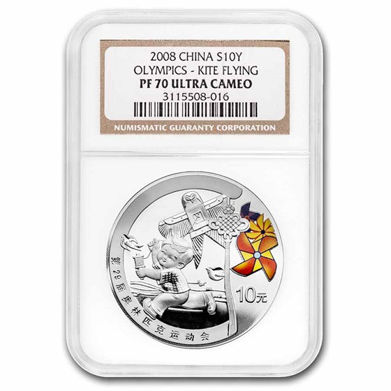 2008 China Silver ¥10 Olympic Games - Kite Flying PF-70 NGC