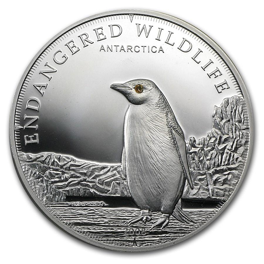 2008 Cook Islands Proof Silver $5 Endangered Wildlife Penguin