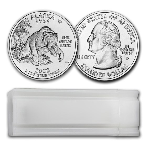 2008-D Alaska Statehood Quarter 40-Coin Roll BU