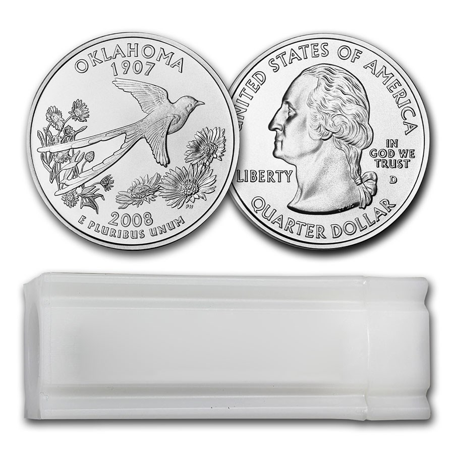 2008-D Oklahoma Statehood Quarter 40-Coin Roll BU