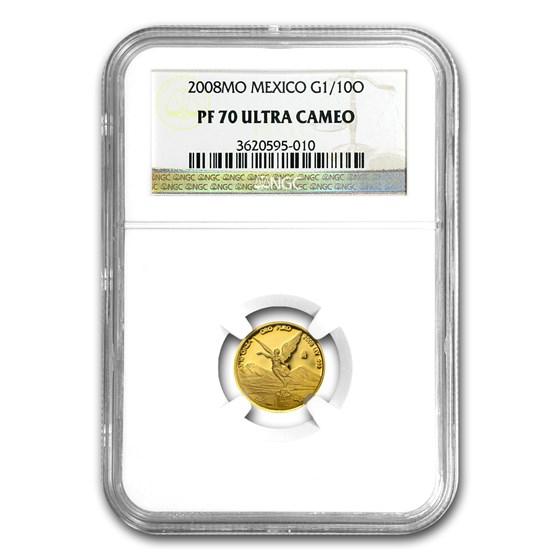 2008 Mexico 1/10 oz Gold Libertad PF-70 NGC