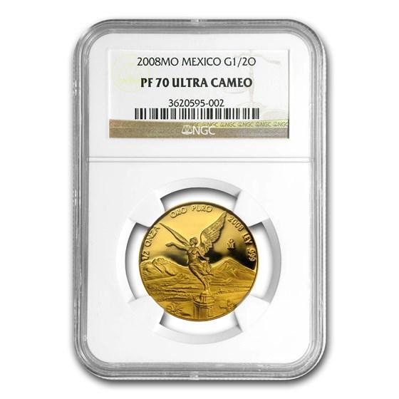2008 Mexico 1/2 oz Gold Libertad PF-70 NGC