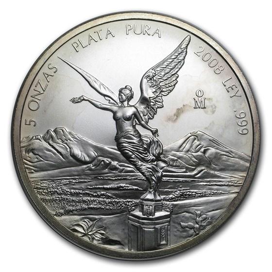 2008 Mexico 5 oz Silver Libertad (Abrasions)