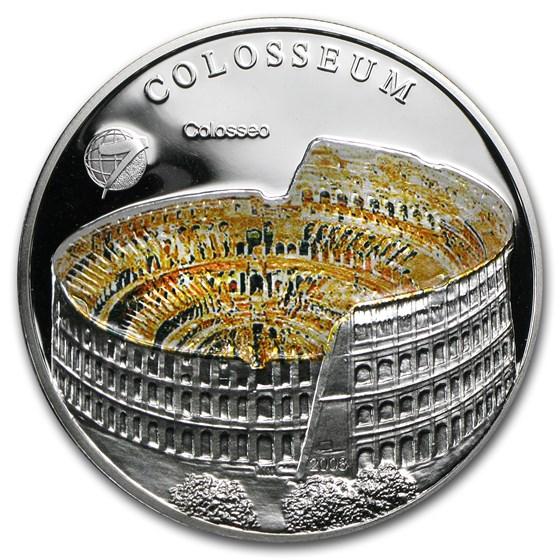 2008 Mongolia Silver 500 Togrog New 7 Wonders Roman Colosseum