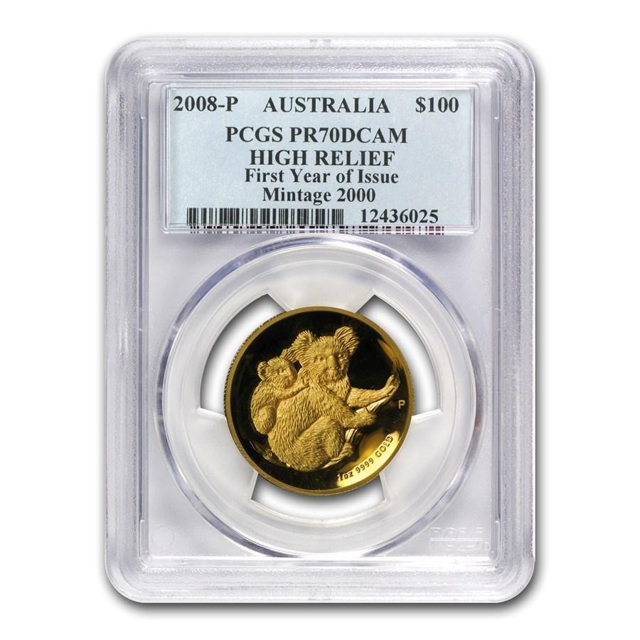 2008-P Australia 1 oz Gold Koala PR-70 PCGS (High Relief)