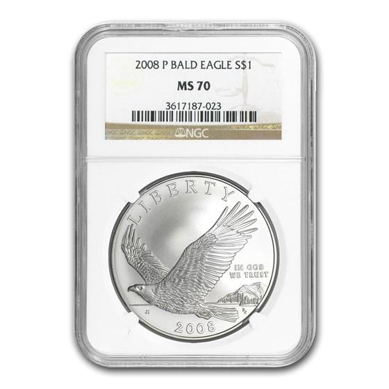 2008-P Bald Eagle $1 Silver Commem MS-70 NGC