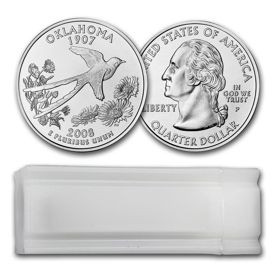 2008-P Oklahoma Statehood Quarter 40-Coin Roll BU