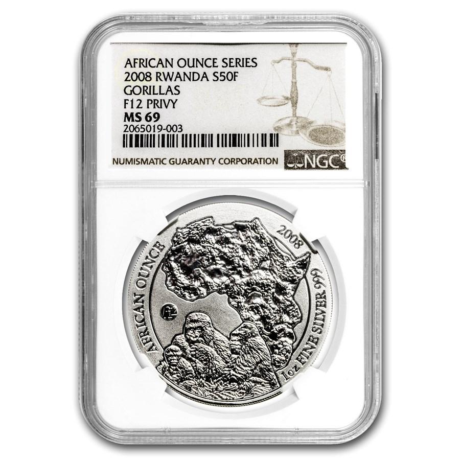 2008 Rwanda 1 oz Silver African Gorilla MS-69 NGC (F12 Privy)