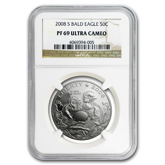 2008-S Bald Eagle 1/2 Dollar Clad Commem PF-69 NGC