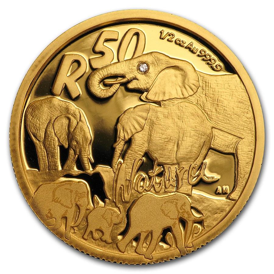 2008 South Africa 1/2 oz Gold Natura Elephant