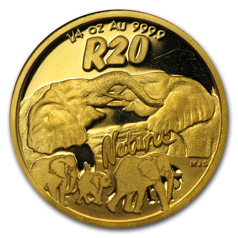 2008 South Africa 1/4 oz Gold Natura Elephant