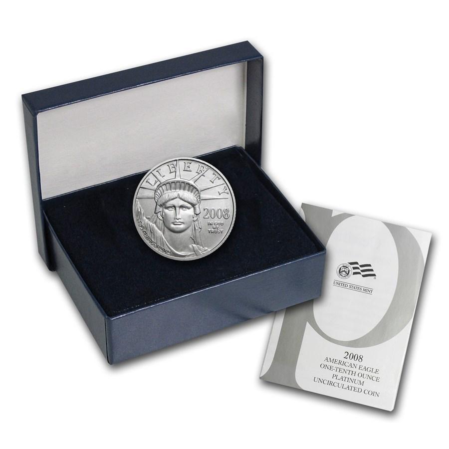 2008-W 1/10 oz Burnished American Platinum Eagle (w/Box & COA)