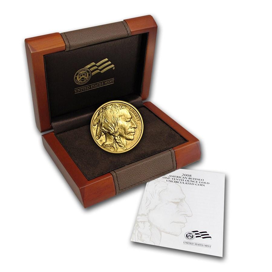 2008-W 1/10 oz Gold Buffalo BU (w/Box & COA)