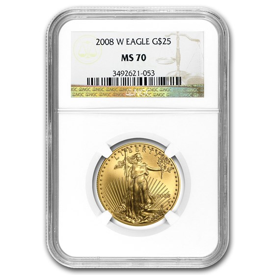 2008-W 1/2 oz Burnished American Gold Eagle MS-70 NGC