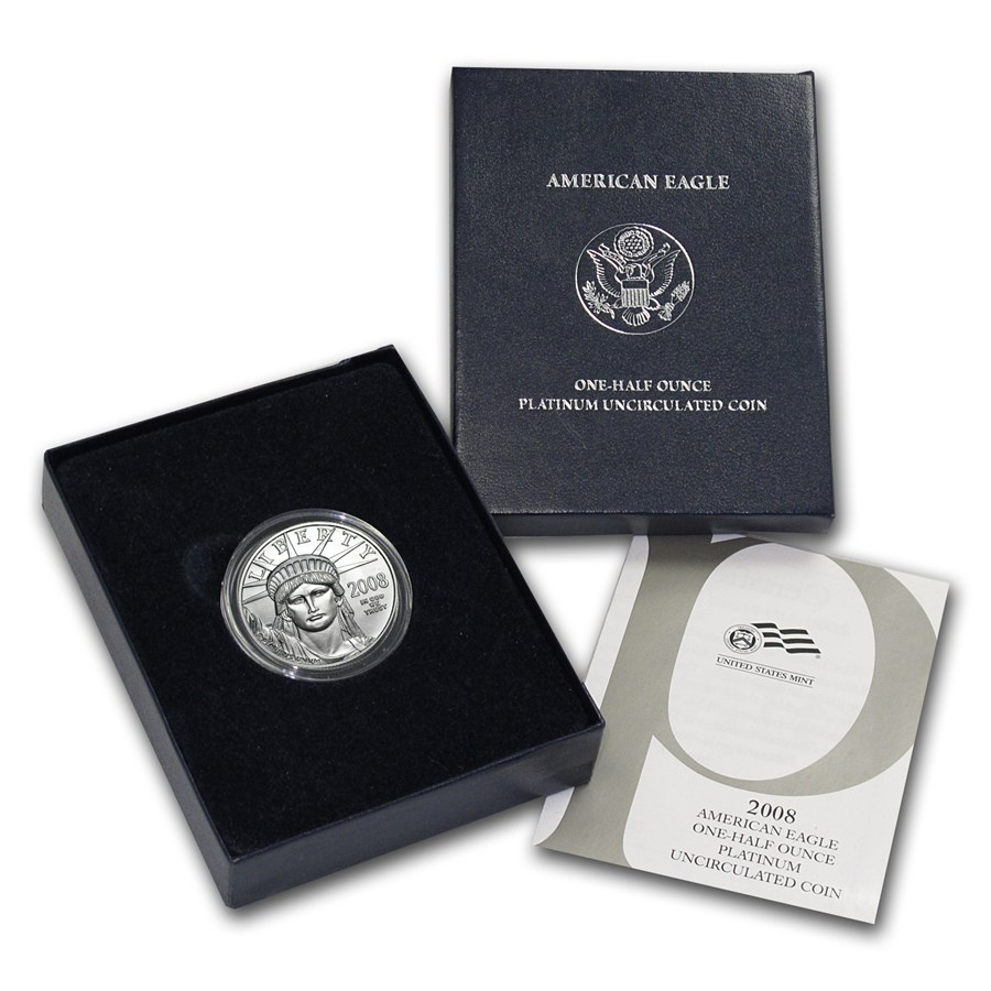 2008-W 1/2 oz Burnished American Platinum Eagle (w/Box & COA)