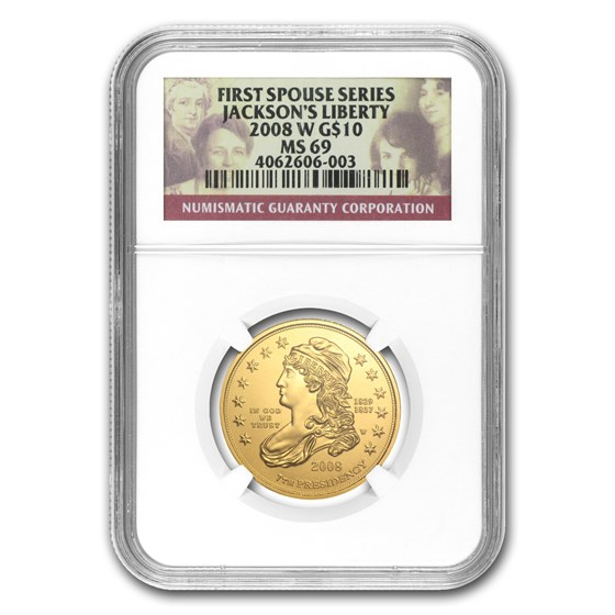 2008-W 1/2 oz Gold Jackson's Liberty MS-69 NGC