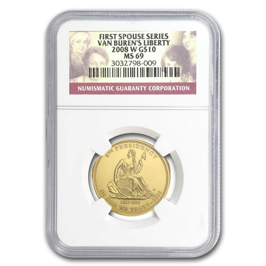 2008-W 1/2 oz Gold Van Buren's Liberty MS-69 NGC