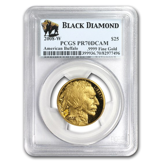 2008-W 1/2 oz Proof Gold Buffalo PR-70 PCGS (Black Diamond)