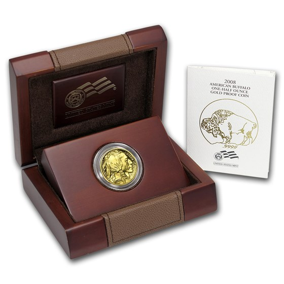 2008-W 1/2 oz Proof Gold Buffalo (w/Box & COA)