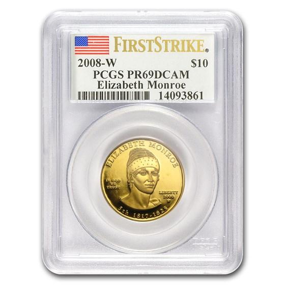 2008-W 1/2 oz Proof Gold Elizabeth Monroe PR-69 PCGS (FS)