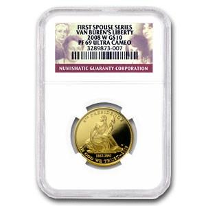 2008-W 1/2 oz Proof Gold Van Buren's Liberty PF-69 NGC