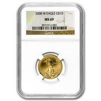 2008-W 1/4 oz Burnished American Gold Eagle MS-69 NGC