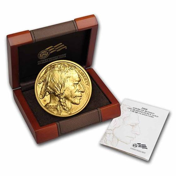 2008-W 1/4 oz Gold Buffalo BU (w/Box & COA)