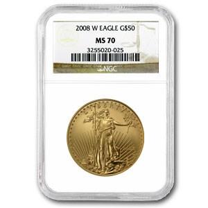 2008-W 1 oz Burnished Gold Eagle MS-70 NGC