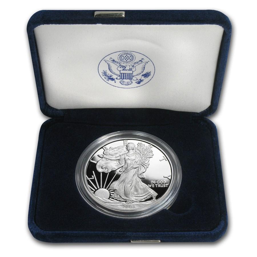 2008-W 1 oz Proof American Silver Eagle (w/Box & COA)